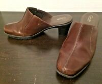 Clarks Bendables Womens Brown Leather Slip On Clogs Mules Shoes 81798 Size 8M US