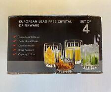 European Lead Free Crystal Drinkware Set of 4 Old Fashioned 11.2 oz. Glasses