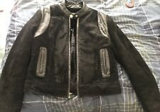 Sexy BABY PHAT Black SUEDE & LEATHER Motorcycle JACKET Coat GOLD Hardware Sz L