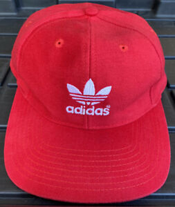 Vintage 90s Adidas Trefoil Red Fitted Hat Cap Size 7 1/2