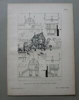 AR92) Architektur Lauf a Pegnitz 1891 Gartenhaus Treppe Säule Holzstich 28x39