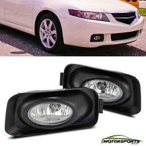 For 2003-2006 Acura TSX Clear Lens Fog Lights Driver Passenger Driving Lamps