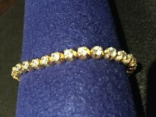 "Eternity Bracelet in 14kt Gold and Brilliant Round Czs Weighty Bracelet-7"""