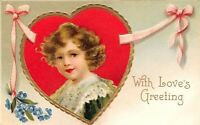 Clapsaddle Valentine~Girl in Red Heart~Lace Collar~Pink Ribbon~Gold Leaf Emboss