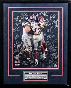 2007 New York Giants Super Bowl Champs Team Signed 16x20 Photo Framed Steiner