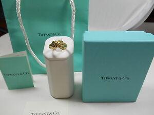 Tiffany & Co. 18K Gold Signature X Kiss Cross Rare Wide Band Ring Sz 7.5 EUC