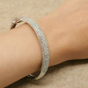 4.50CTS Cuff Bangles 14KT White GOLD Finish DIAMOND TENNIS Women's BRACELET