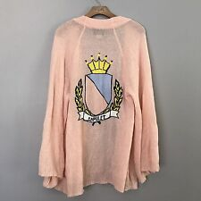 WILDFOX Juliet Capulet Crest Cardigan Pink/Peach Size Medium White Label NO BELT