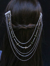 NEW WOMEN SILVER HEAD METAL CROSSES CHAINS FASHION JEWELRY HAIR RHINESTONES PINS