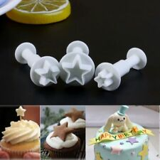 3 Pcs Star Shape Fondant Cake Decorating Plunger Cutter Tool Mold Mould DIY