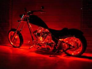 Red 4pc LED Accent Light Kit - Engine Fairing Body Glow Lighting for Harley