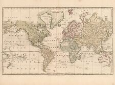 Old Vintage decorative World map Wilkinson ca. 1800 paper or canvas