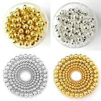 Wholesale Smooth Gold & SILVER PLATED Metal Round SPACER BEADS 4mm 5mm 6mm 8mm