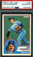 Dan Quisenberry Psa Dna Coa Autograph 1983 Topps Authentic Hand Signed