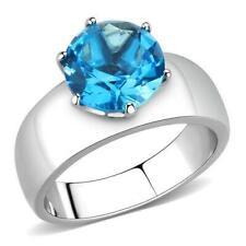 8mm Aqua Sea Blue Crystal Ring Stainless Steel TK316