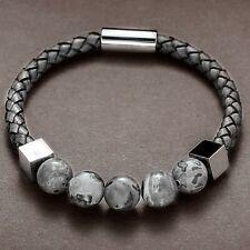 Bracelet pour homme et femme en perles et cuir gris 21 ou 19 cm