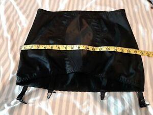 Sissy Vintage Damart Silky Black Garter 4 strap Suspender Belt Skirt size 34