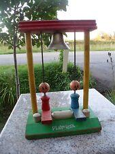 Vintage Playskool 1940s Wood Toy Ring Bell Carnival Red Green Blue Metal Bell
