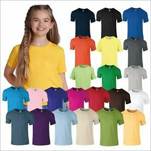 Gildan Softstyle Youth T-Shirt Kids Soft Cotton School Sports Casual Tee Tops