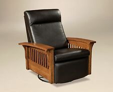 Amish Mission Hoosier Glider Swivel Recliner Chair Solid Wood Leather & Arts u0026 Crafts/Mission Style Recliner Chairs | eBay islam-shia.org