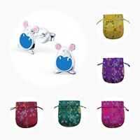 Childrens Girls 925 Sterling Silver Blue Mice Stud Earrings - Pouch