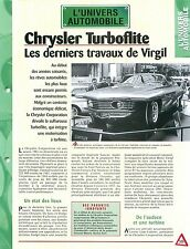 Chrysler Turboflite turbine engines automobile Car Auto FICHE FRANCE