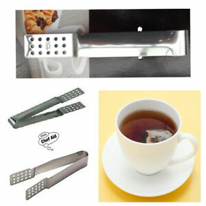 Quality Tea Bag Squeezer Stainless Steel Chef-Aid Ice Cube Tong Silver