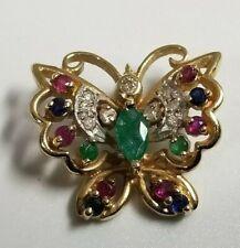 14K Yellow Gold Multi Gemstone Emerald Sapphire Ruby Diamonds Butterfly Pendant