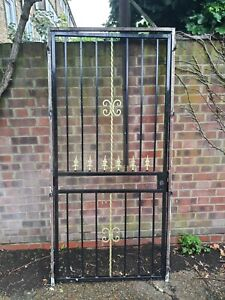 Entry External Door Metal Security Gate Cast Iron Decorations with Lock