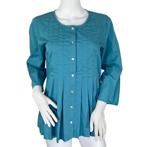 J. Jill Green 3/4 Sleeve Button Up Top Pleated Modest Round Neck Blouse Small