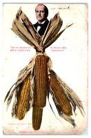 1908 William Jennings Bryan, Peace and Prosperity, Ears of Corn Postcard