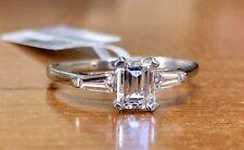 0.85 Ct Emerald Cut Diamond 18K White Gold Three Stone Engagement Ring VS2,F