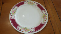 "Homer Laughlin Dinner Plate B1315 vintage 194110"" Maroon and floral dinner plate"
