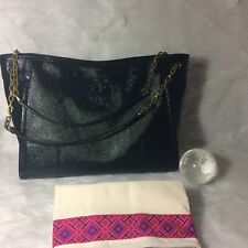 Tory Burch Black Patent Leather Tote Bag