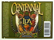 Founders Brewing CENTENNIAL IPA  beer label MI 12oz - Green Border