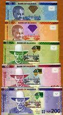 SET, Namibia,10;20;50;100;200 dollars, 2011-2012, Pick New, UNC
