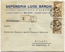 1951 Italia al Lavoro RACCOMANDATA Saponeria Luigi Baroni Bucato Milano FRAGD