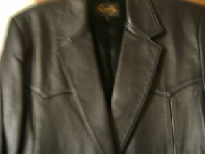 BLACK GENUINE LEATHER JACKET LARGE~QUALITY MADE IN INDIA