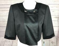 Antonio Melani Womens Retro Solid Black Short Jacket Lined Wool Blend Size 10