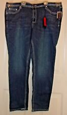 New Earl Skinny stretch Jeans Embroidered pocets stones Dark Wash 24W J-20 $58