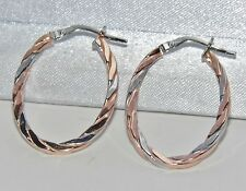 9CT ROSE & WHITE GOLD OVAL TWISTED ROPE CREOLE HOOP EARRINGS