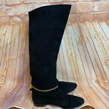 SERGIO ROSSI Size 40 Black Suede Knee High Boots. Made in ITALY