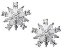 KIRKS FOLLY FROZEN SNOWFLAKE CLIP-ON EARRINGS  silvertone