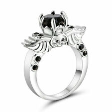 Size 6 White Gold Plated Black Stone Ring Wedding Cluster Cocktail Anniversary
