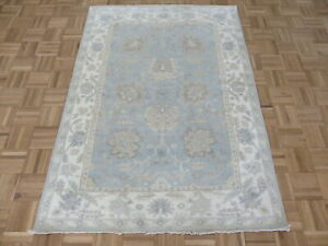 4'3 x 5'10 Hand Knotted Sky Blue White Wash Turkish Oushak Oriental Rug G8075