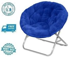 New Blue Faux Fur Fabric Saucer Chair Soft Plush Fluffy Lounger Moon Seat Kid