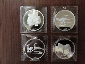 1980 EQUATORIAL GUINEA TIGER ZEBRA CHEETAH IMPALA SILVER PROOF COIN 1000 ONLY