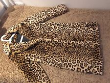 Zara Women Leopard Animal Print Faux Fur Coat Size S