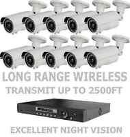 10 LONG DISTANCE WIRELESS NIGHTVISION CCTV 1200TVL CAMERAS FULL SYSTEM + DVR