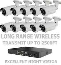 10 Long Distance Wireless Nightvision Cctv 1200Tvl Cameras Full System + Dvr